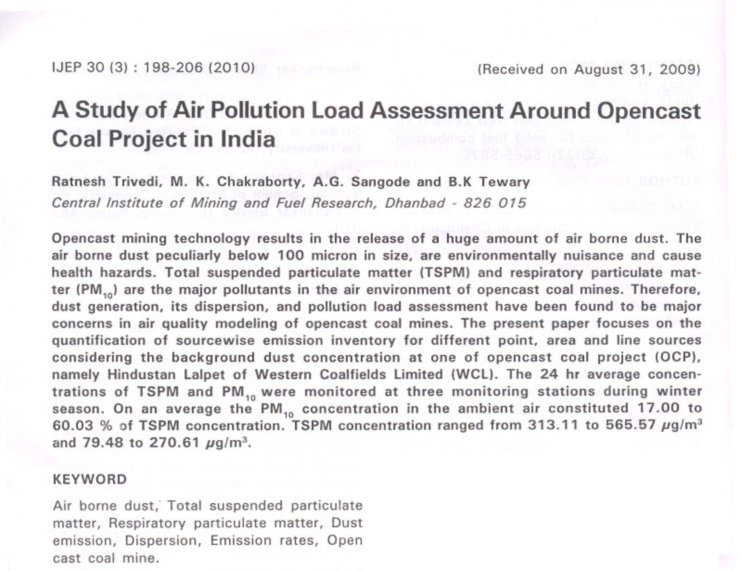a study of pollution and the The escape study will investigate long-term effects on human health of exposure to air pollution in europe the background is that current estimates of the european health impact of.