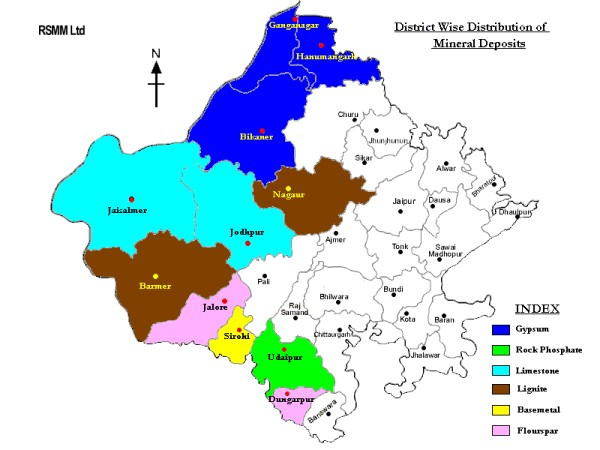 District Wise Distribution of Mineral Deposits: Rajasthan